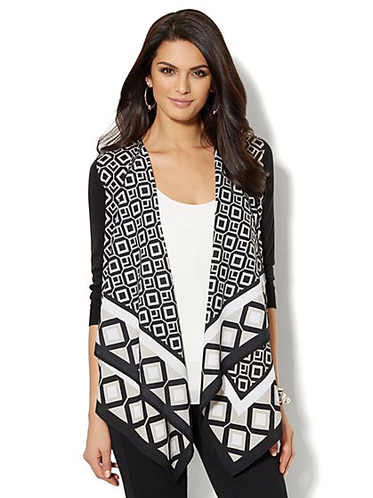 Mixed-Fabric Flyaway Cardigan - Graphic Print  - New York & Company