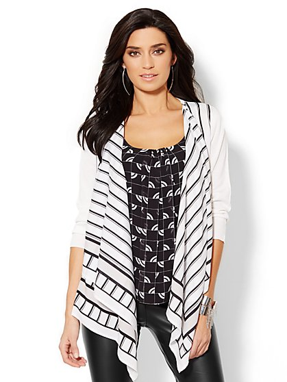 Mixed-Fabric Flyaway Cardigan - Linear Print  - New York & Company