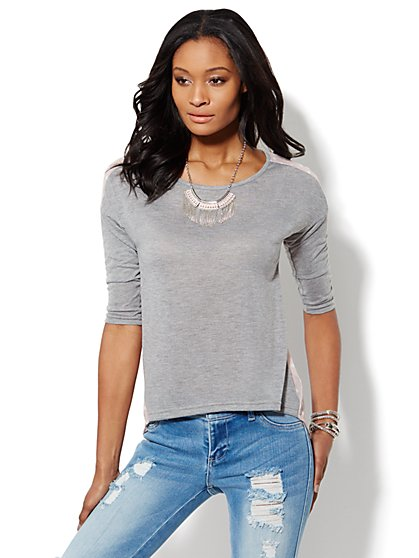 Mixed-Fabric Hi-Lo Top  - New York & Company