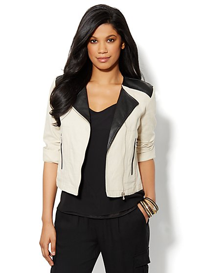 Mixed-Fabric Moto Jacket