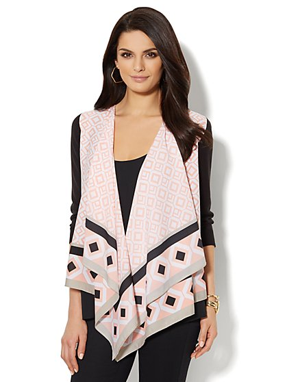 Mixed-Fabric Open-Front Cardigan - Graphic Print  - New York & Company