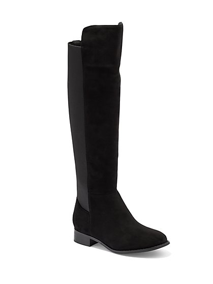 Mixed-Fabric Over-the-Knee Boot  - New York & Company
