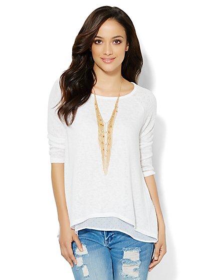Mixed-Fabric Overlay Pullover  - Polka Dot - New York & Company