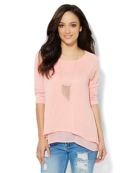 Mixed-Fabric Overlay Pullover  - Polka Dot - New York & Company