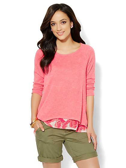 Mixed-Fabric Overlay Pullover  - New York & Company