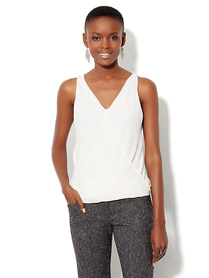 Mixed-Fabric Sleeveless Shell - New York & Company