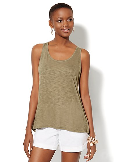 Mixed-Fabric Split-Back Tank  - New York & Company