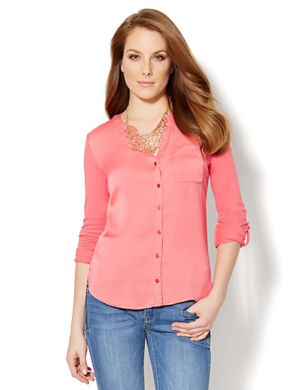 Mixed-Fabric Split-Neck Top  - New York & Company