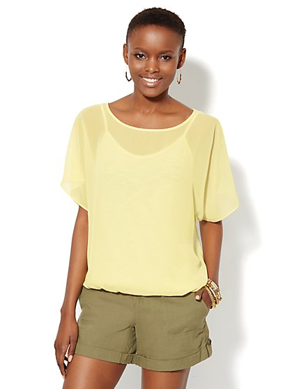 Mixed-Fabric Top  - New York & Company