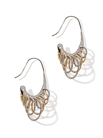 Mixed-Hoops Drop Earring