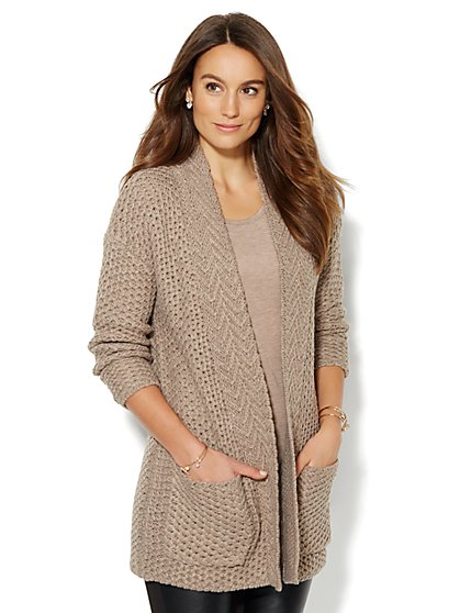 Mixed-Knit Coatigan  - New York & Company