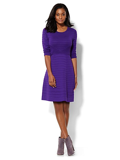 Mixed-Knit Flare Sweater Dress  - New York & Company