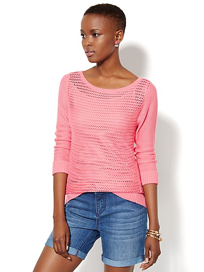 Mixed-Knit Pullover Sweater - New York & Company
