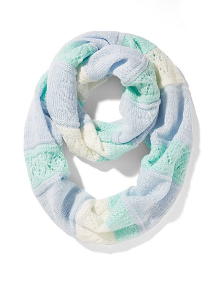 Mixed-Knit Striped Infinity Scarf  - New York & Company