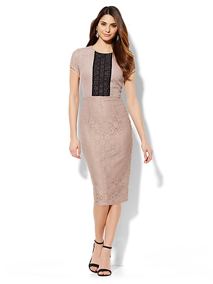 Mixed-Lace Sheath Dress - Petite  - New York & Company
