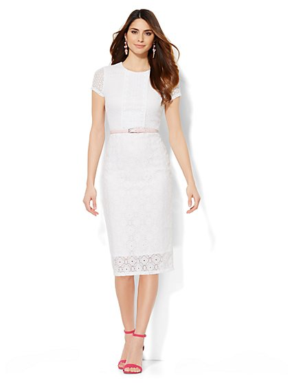 Mixed-Lace Sheath Dress - New York & Company