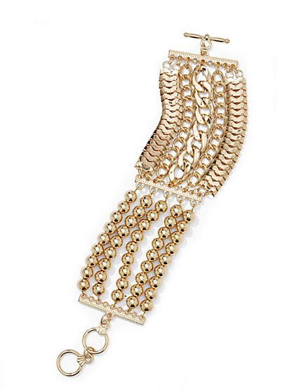 Mixed Media Chain Bracelet  - New York & Company