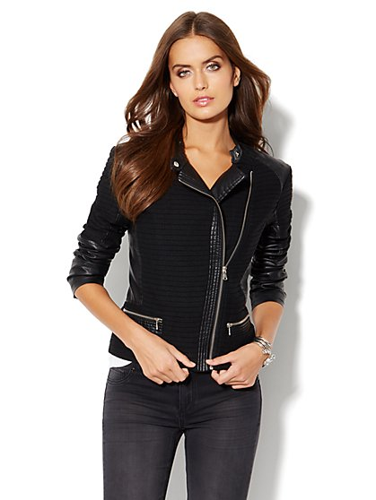 Mixed-Media Moto Jacket - New York & Company