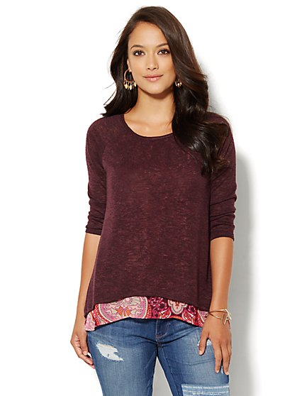 Mixed Media Split-Back Top - New York & Company