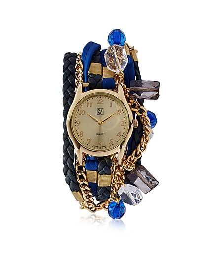 Mixed-Media Wrap Bracelet Watch  - New York & Company