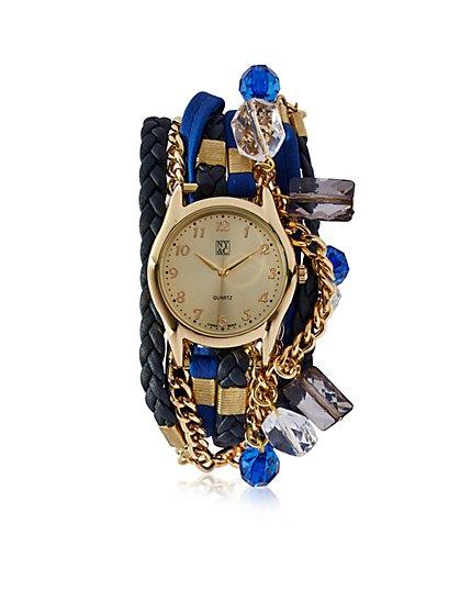 Mixed-Media Wrap Bracelet Watch  - New York & Company