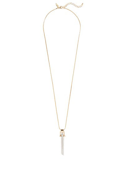 Mixed-Metal Bar Pendant Necklace  - New York & Company