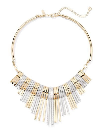 Mixed-Metal Bib Necklace  - New York & Company