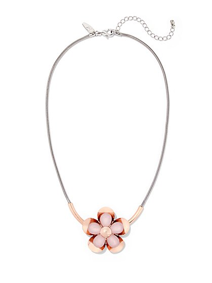 Mixed-Metal Floral Pendant Necklace  - New York & Company