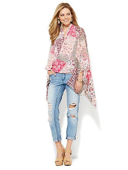 Mixed-Paisley Print Kimono - New York & Company