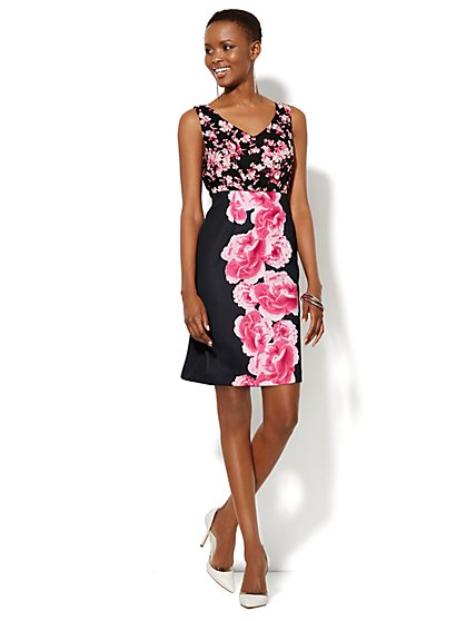 Mixed-Print Floral Dress - Petite  - New York & Company