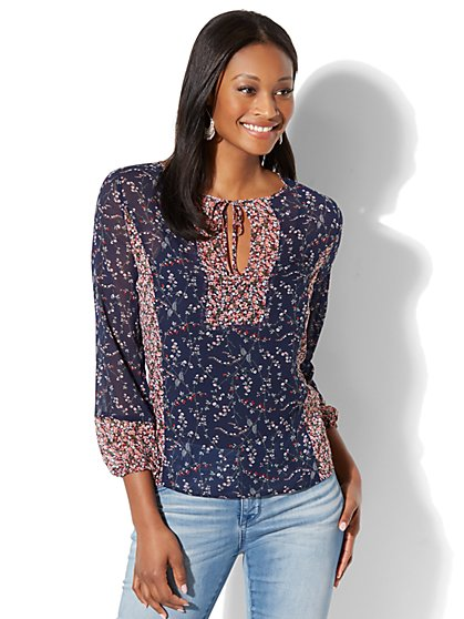 Mixed-Print Peasant Blouse - New York & Company