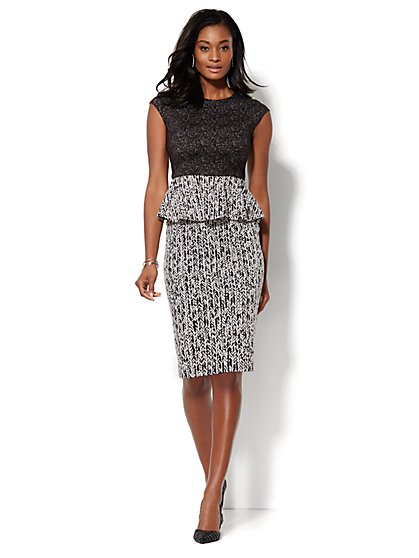 Mixed-Print Peplum Dress - New York & Company