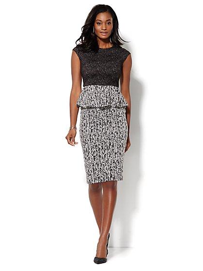 Mixed-Print Peplum Dress - New York & Company