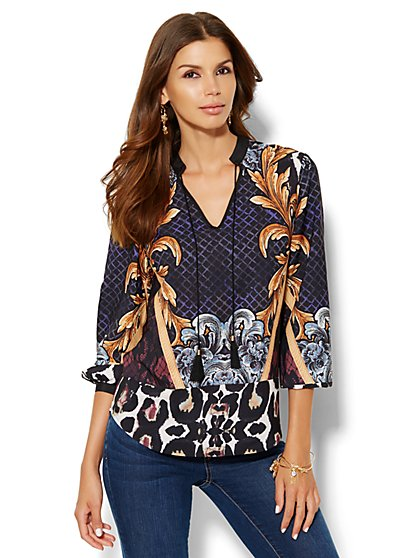 Mixed-Print Tassel Blouse  - New York & Company