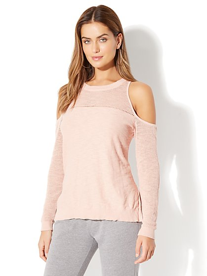 Mixed-Stitch Cold-Shoulder Sweater - New York & Company