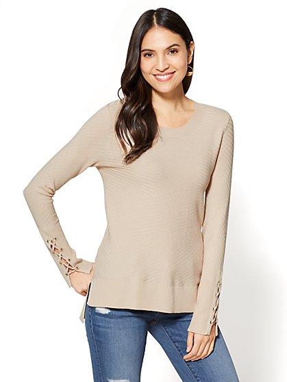 Mixed-Stitch Hi-Lo Sweater - New York & Company