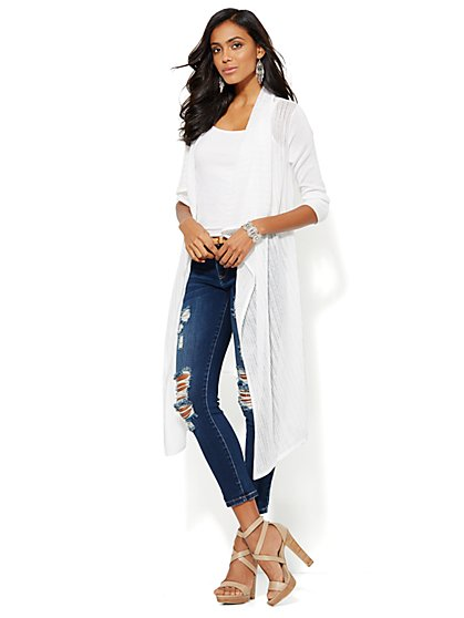 Mixed-Stitch Long Flyaway Cardigan - New York & Company