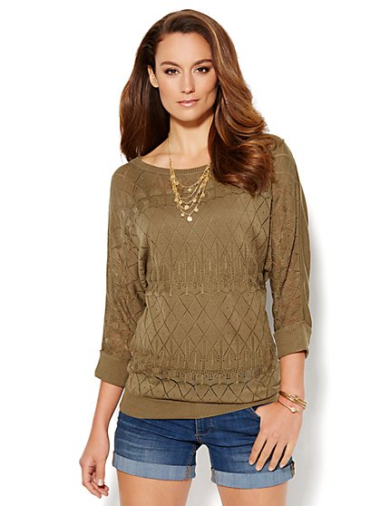 Mixed-Stitch Open-Knit Sweater - New York & Company
