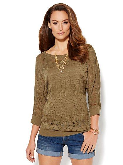 Mixed-Stitch Open-Knit Sweater - New York & Company