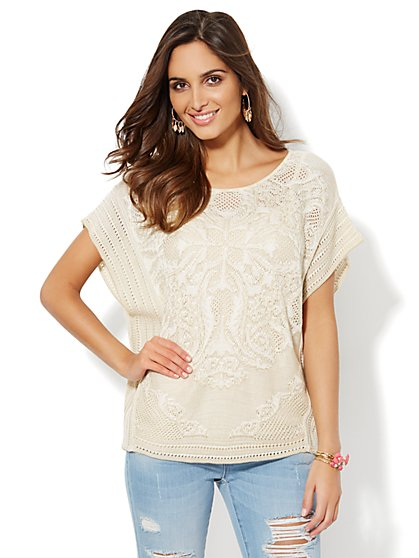 Mixed-Stitch T-Body Sweater - New York & Company