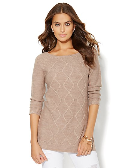 Mixed-Stitch Tunic Sweater  - New York & Company
