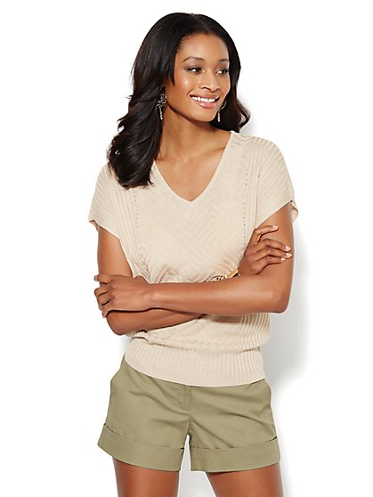 Mixed-Stitch V-Neck Sweater - New York & Company