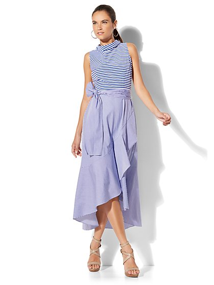 Mixed-Stripe Ruffle Dress - Petite - New York & Company