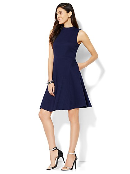 Mock-Neck Flare Dress  - New York & Company