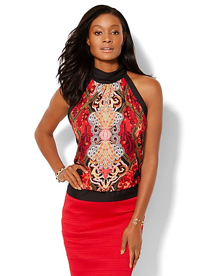 Mock Neck Halter Top - Mixed Print  - New York & Company