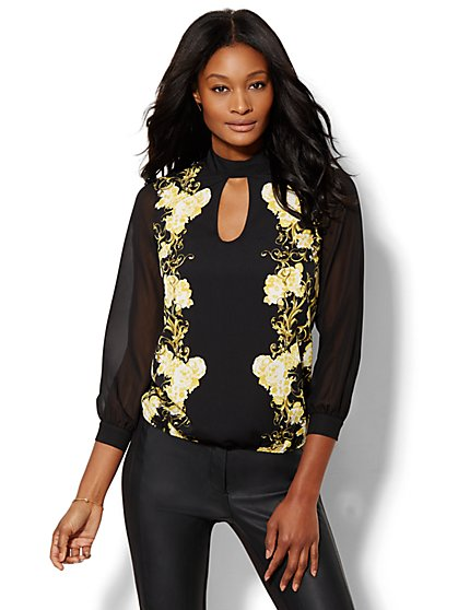 Mock-Neck Keyhole Blouse - Floral/Scroll Print  - New York & Company