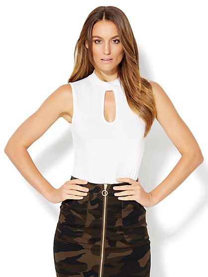 Mock-Neck Keyhole Bodysuit  - New York & Company
