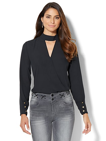Mock-Neck Keyhole Shirt  - New York & Company