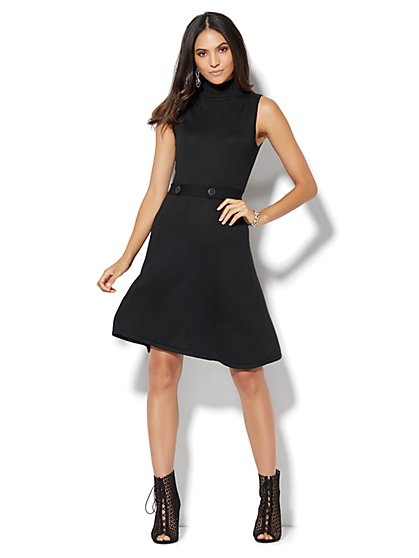 Mock-Neck Knit Flare Dress  - New York & Company