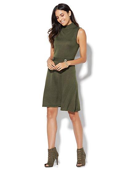 Mock-Neck Knit Flare Dress  - New York & Company